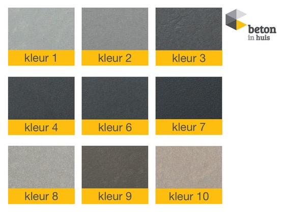 Echt beton in de volgende kleuren leverbaar
